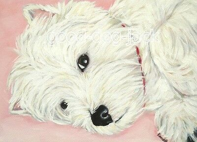"West Highland Terrier ACEO WESTIE PRINT Painting ""RESTING UP"" Dog Art RANDALL"