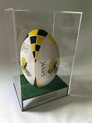 Rugby Ball Display case Personalised for autograph memorabila