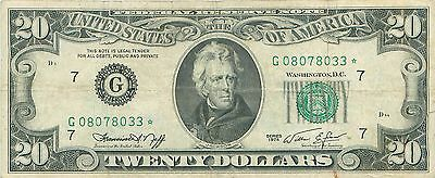 1974 series G/* **STAR** (CHICAGO) $20 Dollar Federal Reserve Note US Currency