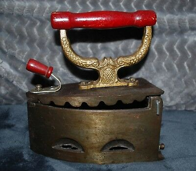 Antique Cast Iron Coal Ironing Clothes Press Iron w Wood Handle Vintage