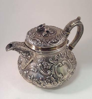 Antique Georgian Sterling Silver Repose Tea Pot with Embossed Floral Patterns