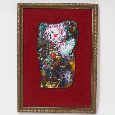 """Multicolor Glass Panel """"Clown"""" by Edris Eckhardt made in United States"""