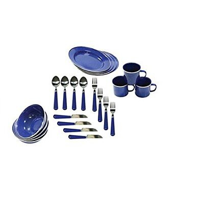 Stansport Enamel Camping Tableware Set, 24Piece, Blue NEW, Free Shipping