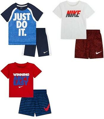 New Nike Little Boys Toddler 2-Piece Shirt & Shorts Set 12M, 2T, 3T, 4, 5, 6, 7