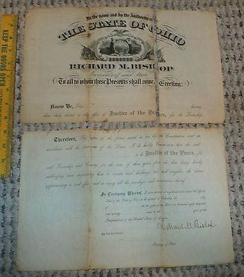 1879 State of Ohio Document Signed by Gov. Richard Bishop - Noble Co.  Autograph