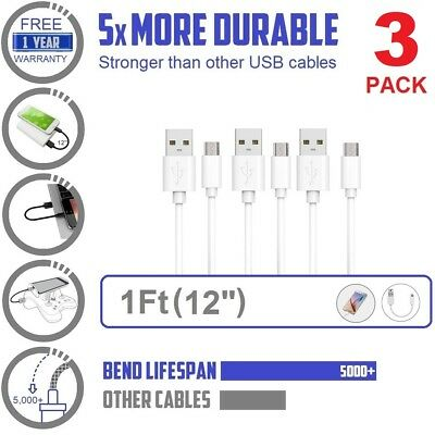 "1 2 3pack For samsung Android 12"" (1ft) charger Data PVC Short Micro USB Cable"
