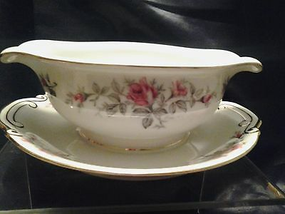"""Vintage Wentworth China """"Roxanne"""" Pattern Gravy Boat with Attached Plate"""