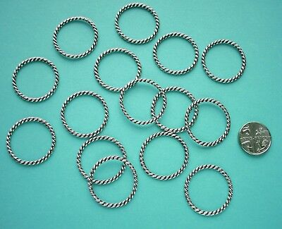 15pcs - 25mm EXTRA LARGE CLOSED METAL JUMP RINGS - Antique Silver Twist pattern