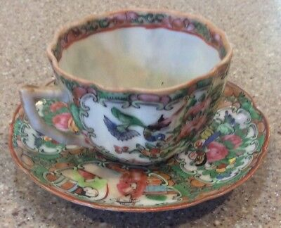 Antique Chinese Famille Rose Medallion Cup and Saucer 1800's Scalloped Design