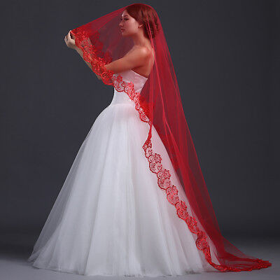 "RED 1T 1 Tier Wedding Drop Veil 105"" 3M Spanish Lace Cathedral"