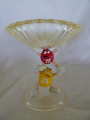 Vintage Red & Yellow M & M Character Candy Dish Crystallized Acrylic