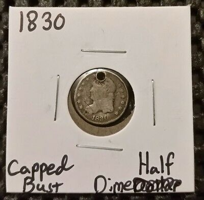 1830 Capped Bust Half Dime! 89% Silver! Holed!