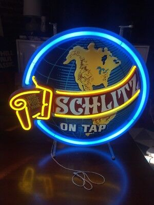 "Vintage Schlitz Beer Neon Sign Advertising Lighted World Globe 18"" Rare 1970's"
