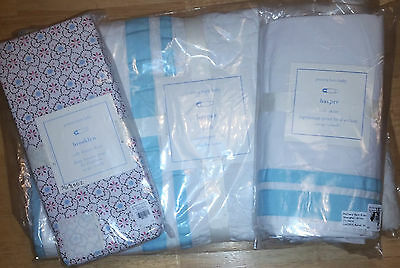 Pottery Barn  Kids Baby HARPER Quilt + Crib Skirt AQUA + Brooklyn Sheet NEW