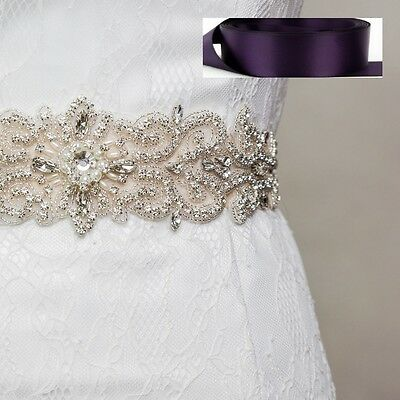 Wedding Bridal Sash Belt, Crystal Pearl Sash Belt = EGGPLANT satin sash