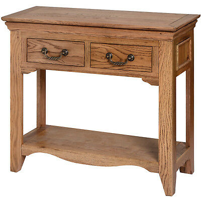 Console Table with 2 Drawer Low Open Shelf Dorchester Solid Oak Wood Furniture