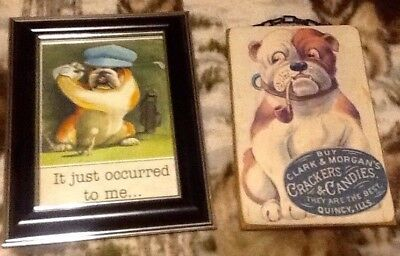 A set of 2 English Bulldog Images: in plastic(plexiglass frame and on lite wood