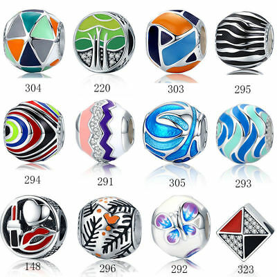 Voroco Colorful Enamel 925 Sterling Silver Charm Bead For Bracelet Chain Jewelry