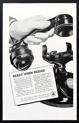 1941 Vintage Print Ad BELL TELEPHONE Closeup Of Hand Hanging Up Phone 40's Style