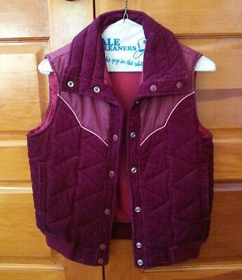 Cowgirl Western Vest Vintage 1980s Small Quilted Corduroy Burgundy Cloud 9 EUC