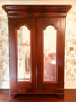 American Classical Mahogany Mirrored Door Armoire