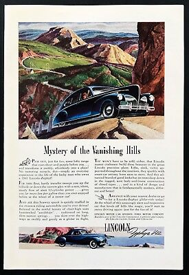 1941 Vintage Print Ad LINCOLN Car Illustration Ford Motor Driving Up Hill Scenic