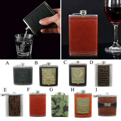 6-9oz Portable Engraved Leather Wrapped Stainless Steel Hip Flask Whiskey Flagon