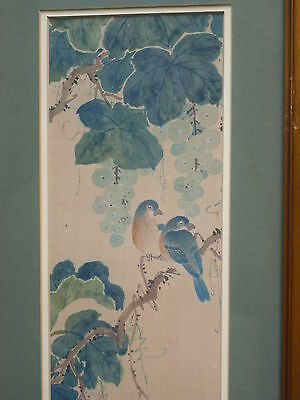 Beautiful Antique Chinese Hand Panted Birds On Silk Original Painting Signed