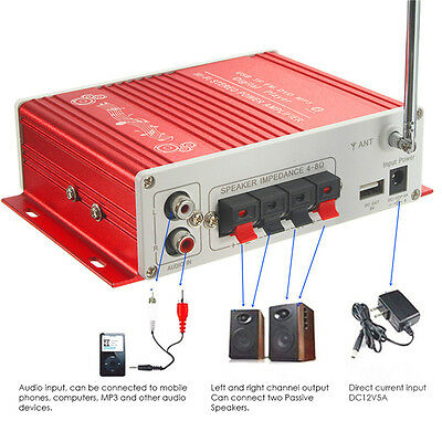 Bluetooth 12V Audio Stereo Amplifier AMP For Ipod Car Home FM Radio MP3 USB MIC