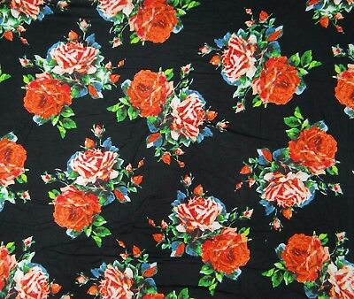 50 Wide Women Printed Designer Black Cotton Fabric Sewing Craft By The Yard