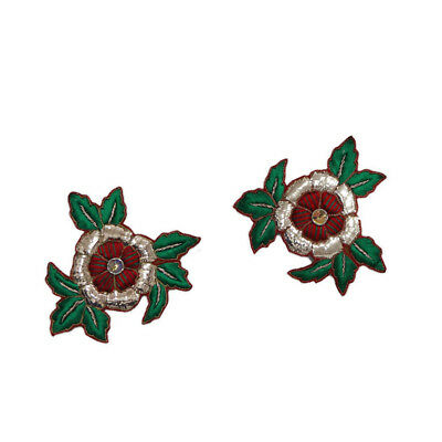 Ethnic Appliques Green Floral Pattern Indian Handmade Dress Apparel Patch 2 Pcs
