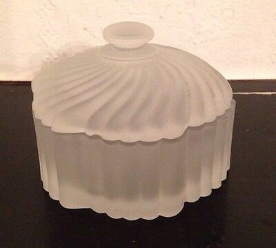 Vintage/Retro/Art Deco/Gatsby/Frosted Glass/Dish With Lid/Dressing Table/Pin