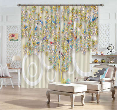 Gorgeous Peacock Trees 3D Curtain Blockout Photo Printing Curtains Drape Fabric