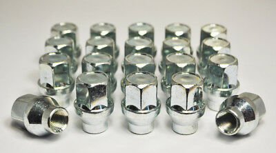 Set of 20 M12 x 1.5, 21mm Hex Alloy Wheel Nuts With 6mm Shank (Silver)