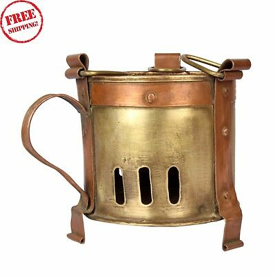 Vintage Old Hand Crafted Brass & Copper Sighadi Fire Stove Kitchenware 1131