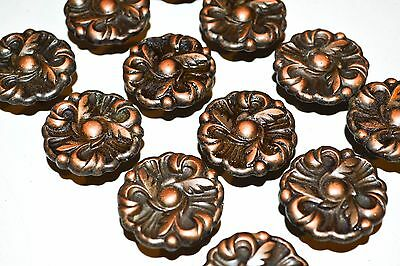 12 Vintage RDCA Copper Drawer Knob Pull French Provincial Ornate Rosette K97e