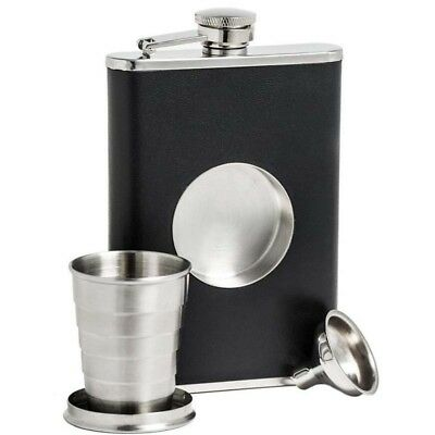 8oz Flask Collapsible Shot Glass Stainless Steel Screw Cap Hip Pocket +Funnel