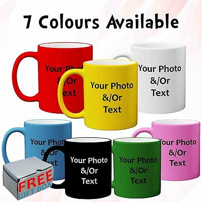 New Personalised Custom Print Satin Coated Mug Photo Text Picture Premium Gift
