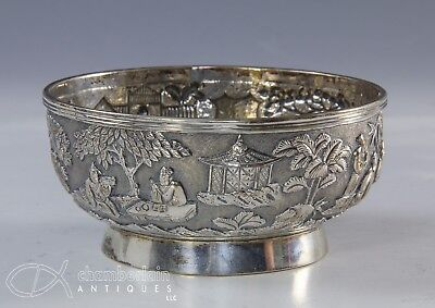 Antique Chinese Relief Decorated Silver Bowl With Figures