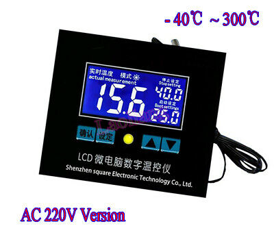 AC 220V -40℃~300℃ LCD Digital Temperature Controller Thermostat Switch + Probe