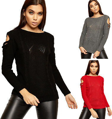 Womens Cut Out Cold Shoulder Long Sleeve Sweater Ladies Cable Knitted Jumper