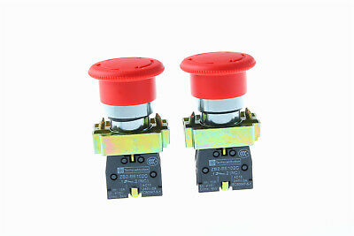 RED XB2-BS542 2pcs 1NC US Stock New Emergency Stop Push-button Switch Mushroom