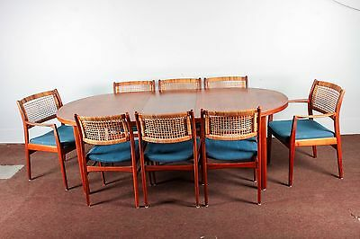 Swedish DUX Midcentury Original Teak Dining Table with 8 Rattan-Back Chairs