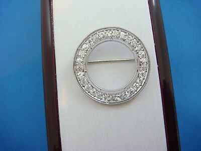 "Elegant 14K White Gold 1.50 Ct Old Mine Diamonds Antique ""circle Of Love"" Brooch"
