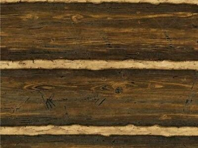 One New Roll of Brewster Log Cabin Wood Paneling Wallpaper Textured