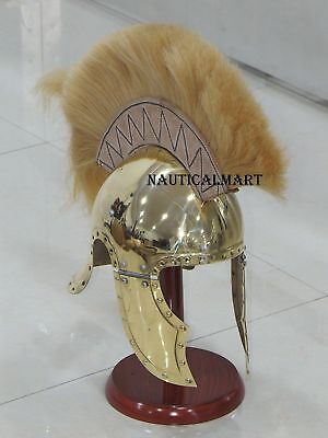 Brass Greco Roman Helmet With Brown Crest Medieval Gladiator Armor Costumes NYHJ