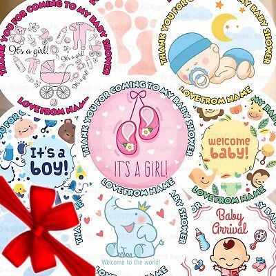 Personalised Baby Shower Girl Boy Stickers Labels Thank You Sweet Party Bag Seal
