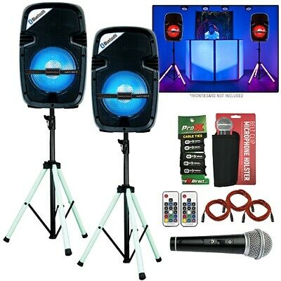 "Wireless DJ PA 8"" Active Light Show Speakers (Pair) + LED Light Up Stands Packa"