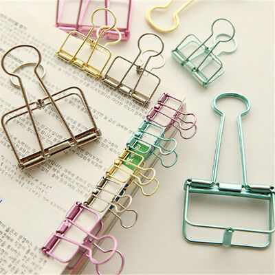 2X Novelty Hollow Metal Binder Clips Notes Letter Paper Clip Office SupplieP&T