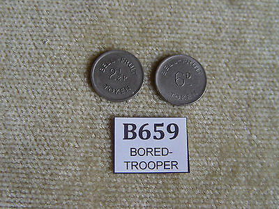 2x BELL FRUIT 2 1/2p 6d VINTAGE COLLECTABLE FRUIT MACHINE TOKENS VINTAGE ARCADE